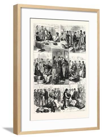 New York: the Terror of Ocean Travelers, a Day with a Custom House Inspector. U.S., 1880 1881--Framed Art Print