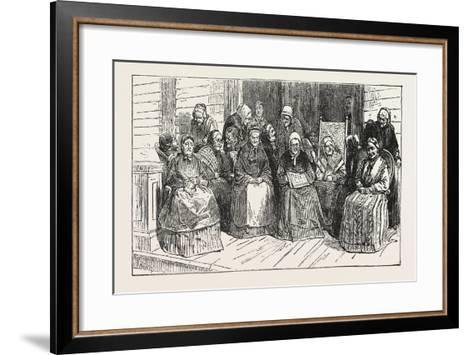 An After-Tea Chat at the Isabella Home, Long Island, 1876, USA, America, United States--Framed Art Print