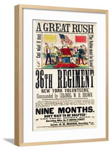 A Great Rush', Recruitment Poster for 36th Regiment, Published by Baker and Goodwin--Framed Art Print