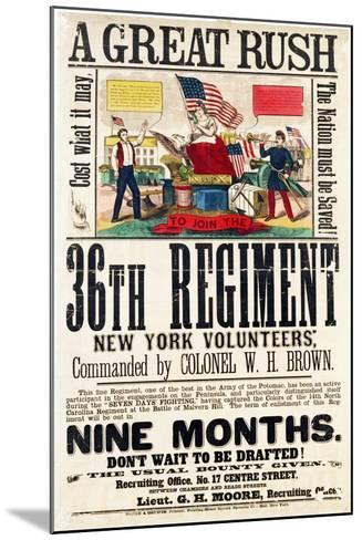 A Great Rush', Recruitment Poster for 36th Regiment, Published by Baker and Goodwin--Mounted Giclee Print