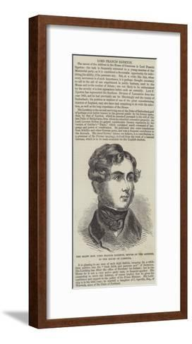 The Right Honourable Lord Francis Egerton, Mover of the Address, in the House of Commons--Framed Art Print