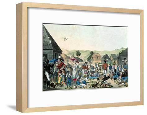 Negro Market in the West Indies, Published by Motte, 1806 (Colour Lith)--Framed Art Print
