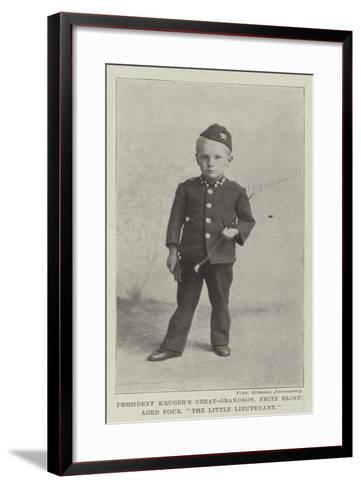 President Kruger's Great-Grandson, Fritz Eloff, Aged Four, The Little Lieutenant--Framed Art Print