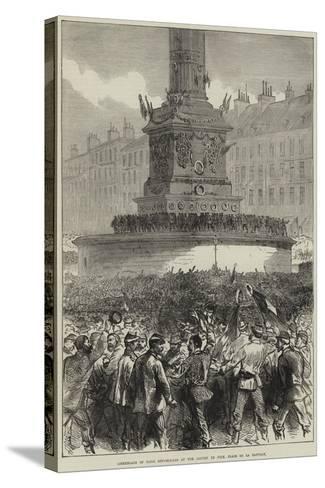 Assemblage of Paris Republicans at the Column of July, Place De La Bastille--Stretched Canvas Print