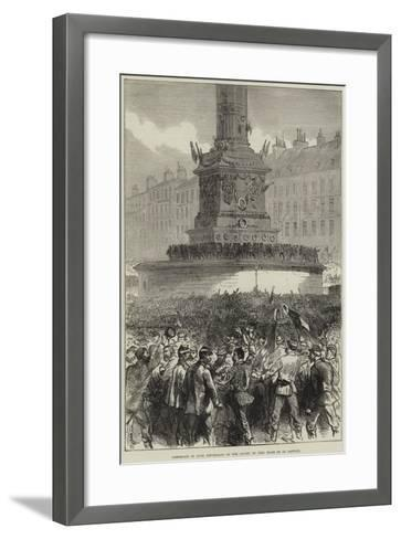 Assemblage of Paris Republicans at the Column of July, Place De La Bastille--Framed Art Print