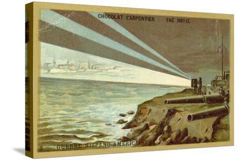 Searchlights from a Shore Battery Illuminating a Fleet of Warships, Spanish-American War, 1898--Stretched Canvas Print
