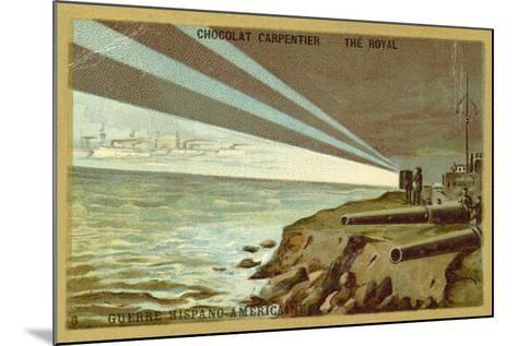 Searchlights from a Shore Battery Illuminating a Fleet of Warships, Spanish-American War, 1898--Mounted Giclee Print