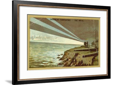Searchlights from a Shore Battery Illuminating a Fleet of Warships, Spanish-American War, 1898--Framed Art Print