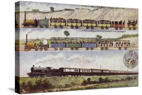 A Train of 1837 Compared with the Special Anglo-American Boat Express in 1904--Stretched Canvas Print