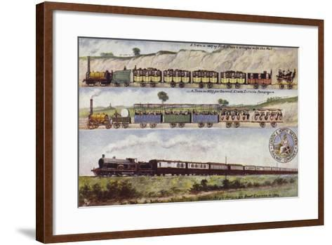 A Train of 1837 Compared with the Special Anglo-American Boat Express in 1904--Framed Art Print