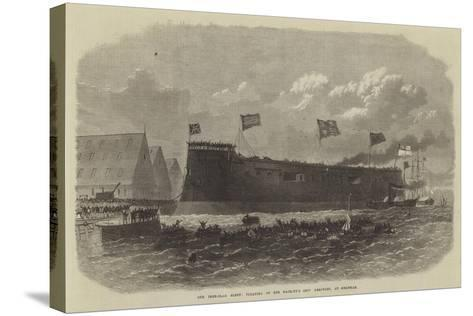 Our Iron-Clad Fleet, Floating of Her Majesty's Ship Hercules, at Chatham--Stretched Canvas Print