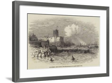 Carrickfergus Castle, Salute of the Royal Squadron on its Leaving Belfast Lough--Framed Art Print