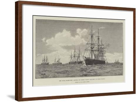 The Naval Manoeuvres, Admiral Sir George Tryon's Squadron at Steam Tactics--Framed Art Print