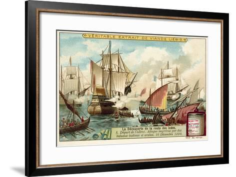 Vasco Da Gama Leaving Calicut under Unexpected Attack from Indian and Arab Boats, December 1498--Framed Art Print