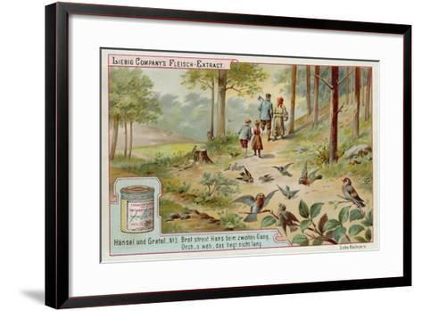 Hansel and Gretel: Birds Eating the Trail of Breadcrumbs Left by Hansel to Find the Way Home--Framed Art Print