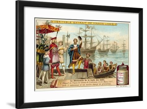 Vasco Da Gama Leaving Lisbon with Three Ships Loaded with Provisions, 25 March 1497--Framed Art Print