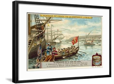 Meeting of Vasco Da Gama and His Brother Paulo with the Ruler of Malindi, May 1498--Framed Art Print