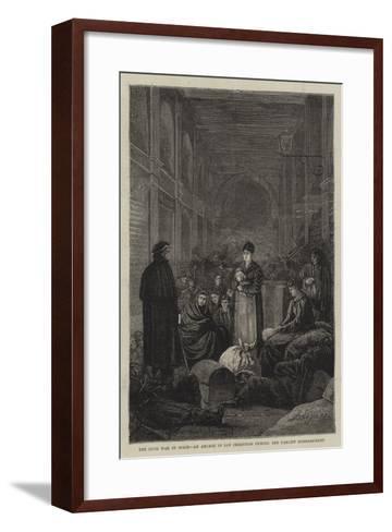 The Civil War in Spain, an Arcade in San Sebastian During the Carlist Bombardment--Framed Art Print