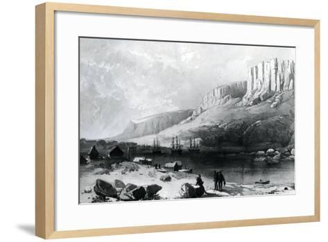 The Arctic Squadron in Leevely Harbour, Island of Disco, Coast of Greenland, 1855--Framed Art Print
