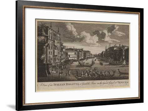 A View of an Italian Regatta or Gondola Race on the Grand Canal at Venice, Etc--Framed Art Print