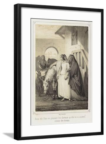 Crying, She Stroked the Horses That She So Often Saw Returning from the Fields--Framed Art Print