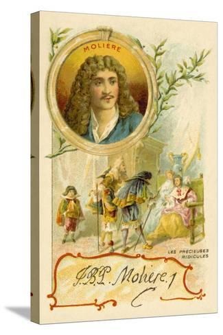 Moliere, French Playwright, and a Scene from His Play Les Precieuses Ridicules--Stretched Canvas Print