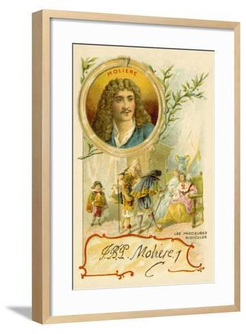 Moliere, French Playwright, and a Scene from His Play Les Precieuses Ridicules--Framed Art Print