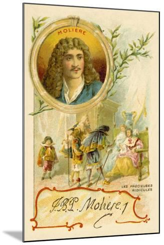Moliere, French Playwright, and a Scene from His Play Les Precieuses Ridicules--Mounted Giclee Print
