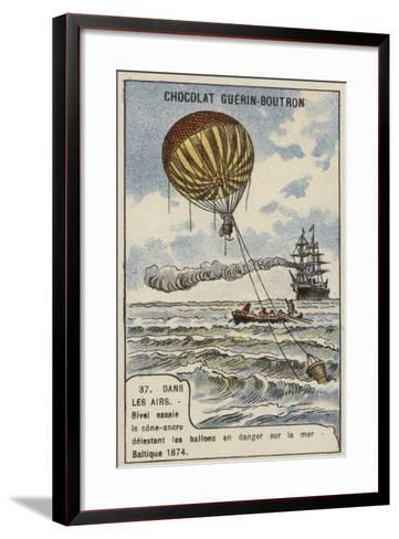 Theodore Sivel Testing a Cone-Shaped Balloon Anchor over the Baltic Sea, 1874--Framed Art Print