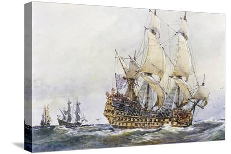 First-Rank French Ship at Time of Colbert (17th Century), Watercolour by Albert Sebille (1874-1953)--Stretched Canvas Print