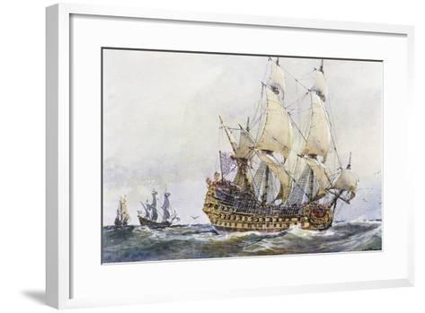 First-Rank French Ship at Time of Colbert (17th Century), Watercolour by Albert Sebille (1874-1953)--Framed Art Print