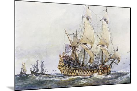 First-Rank French Ship at Time of Colbert (17th Century), Watercolour by Albert Sebille (1874-1953)--Mounted Giclee Print