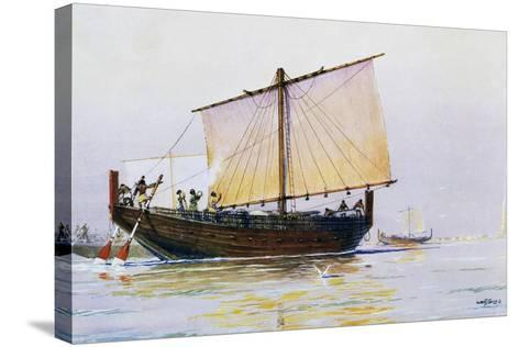 Phoenician Merchant Ship Arriving in Pharos, Watercolor by Albert Sebille (1874-1953), 20th Century--Stretched Canvas Print