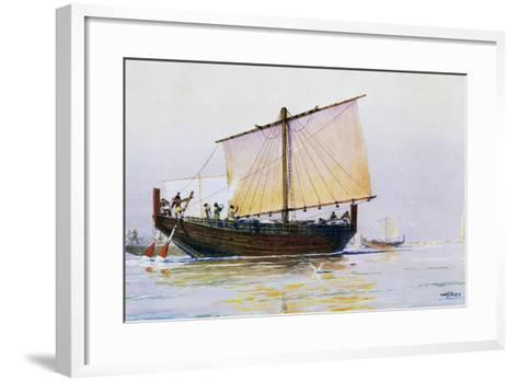 Phoenician Merchant Ship Arriving in Pharos, Watercolor by Albert Sebille (1874-1953), 20th Century--Framed Art Print