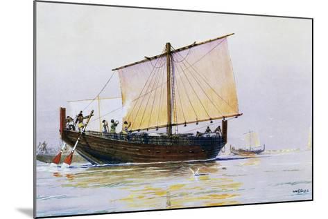 Phoenician Merchant Ship Arriving in Pharos, Watercolor by Albert Sebille (1874-1953), 20th Century--Mounted Giclee Print