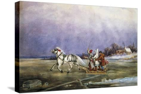 Sled Being Pulled by Horse across Frozen Lake, by Cornelius Krieghoff (1815-1872)--Stretched Canvas Print