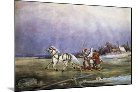 Sled Being Pulled by Horse across Frozen Lake, by Cornelius Krieghoff (1815-1872)--Mounted Giclee Print