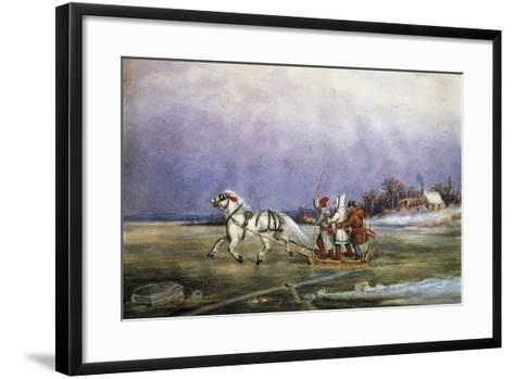 Sled Being Pulled by Horse across Frozen Lake, by Cornelius Krieghoff (1815-1872)--Framed Art Print