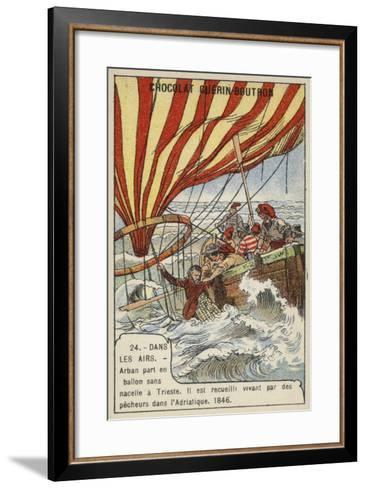 Arban Rescued by Fishermen after His Balloon Crashed in the Adriatic, 1846--Framed Art Print