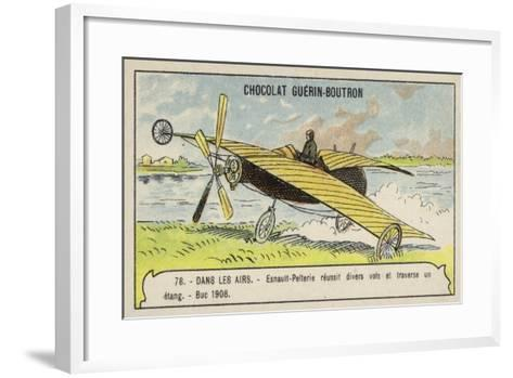 Esnault-Pelterie Making a Successful Flight over a Pond, Buc, France, 1908--Framed Art Print