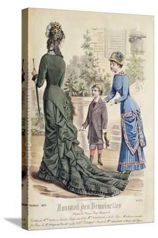 Paris Fashion, from 'Journal Des Demoiselles', Published Dupuy Paris, 1879--Stretched Canvas Print
