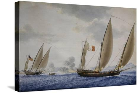 Xebec Conception in Combat with Xebec Le Volcan, 1804, Watercolor by Nicolas Cammillieri--Stretched Canvas Print