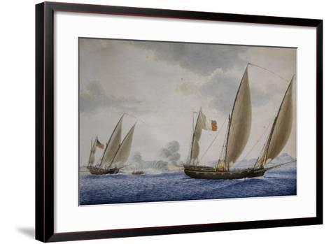 Xebec Conception in Combat with Xebec Le Volcan, 1804, Watercolor by Nicolas Cammillieri--Framed Art Print