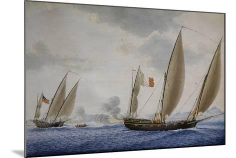 Xebec Conception in Combat with Xebec Le Volcan, 1804, Watercolor by Nicolas Cammillieri--Mounted Giclee Print