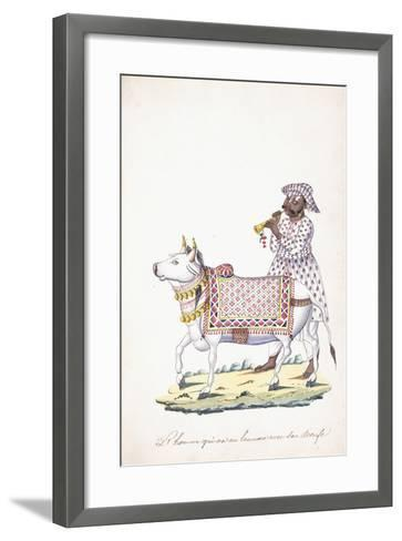 A Man with His Ox, C. 1825 (Pencil, Pen, Black Ink, W/C, on Whatman Paper)--Framed Art Print