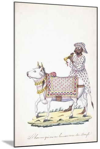 A Man with His Ox, C. 1825 (Pencil, Pen, Black Ink, W/C, on Whatman Paper)--Mounted Giclee Print