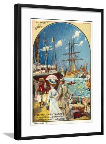 Passengers Boarding a Ship of the Austrian Lloyd Line at the Port of Suez, Egypt--Framed Art Print