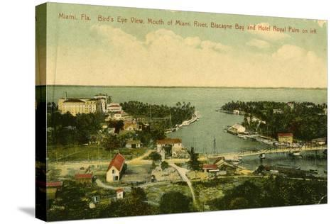 Bird's Eye View of the Mouth of the Miami River, Biscayne Bay and Hotel Royal Palm on Left, C.1910--Stretched Canvas Print