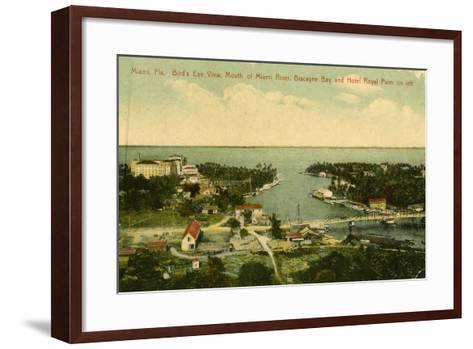 Bird's Eye View of the Mouth of the Miami River, Biscayne Bay and Hotel Royal Palm on Left, C.1910--Framed Art Print