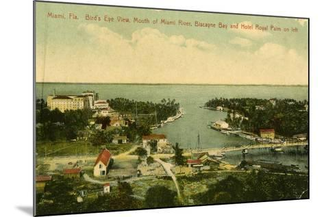 Bird's Eye View of the Mouth of the Miami River, Biscayne Bay and Hotel Royal Palm on Left, C.1910--Mounted Giclee Print